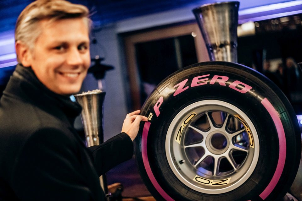 Foto: Matteo Braga from Pirelli with the 2020 BOSS GP tyre - Credit Michael Jurtin